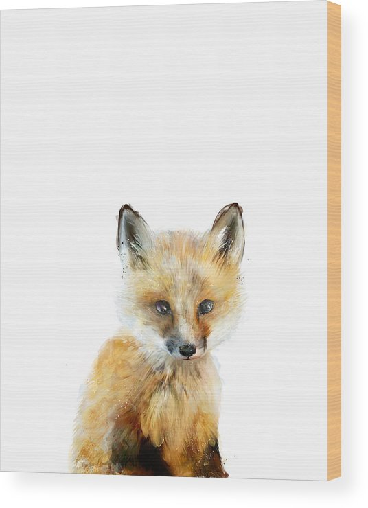 Fox Wood Print featuring the painting Little Fox by Amy Hamilton