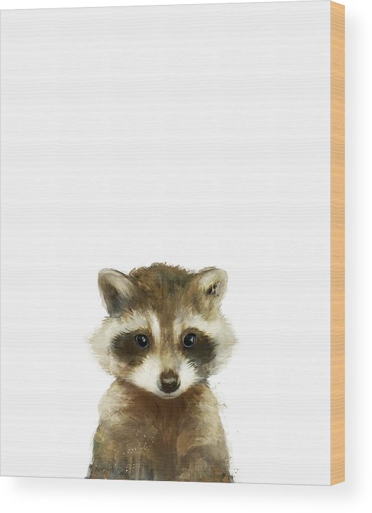 Raccoon Wood Print featuring the painting Little Raccoon by Amy Hamilton