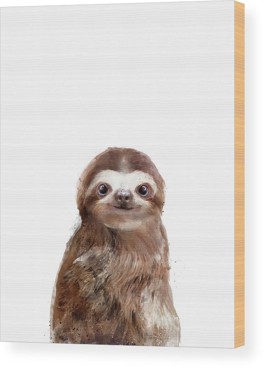 Sloth Wood Print featuring the painting Little Sloth by Amy Hamilton