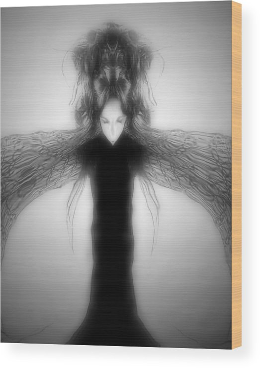 Gothic Wood Print featuring the digital art Locust Girl by Heather King