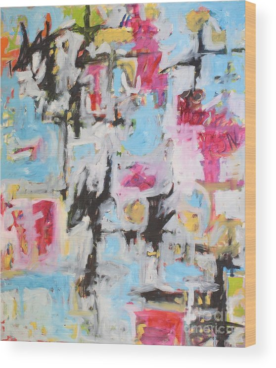 Painting Wood Print featuring the painting Magenta Abstract I by Michael Henderson