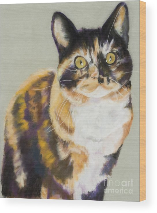Calico Wood Print featuring the painting Maggie Mae by Pat Saunders-White