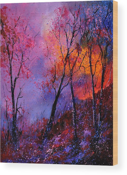 Landscape Wood Print featuring the painting Magic trees by Pol Ledent