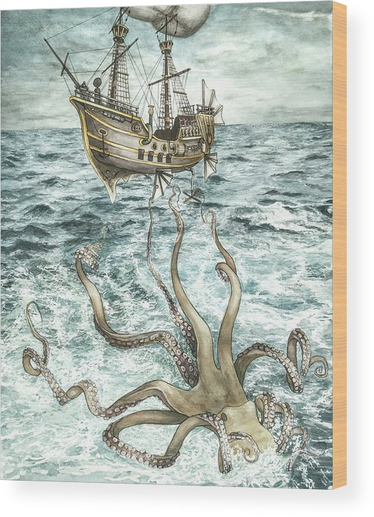 Steampunk Wood Print featuring the painting Maiden Voyage by Arleana Holtzmann