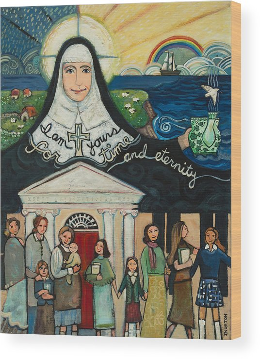 Jen Norton Wood Print featuring the painting Mercy Foundress Catherine McAuley by Jen Norton