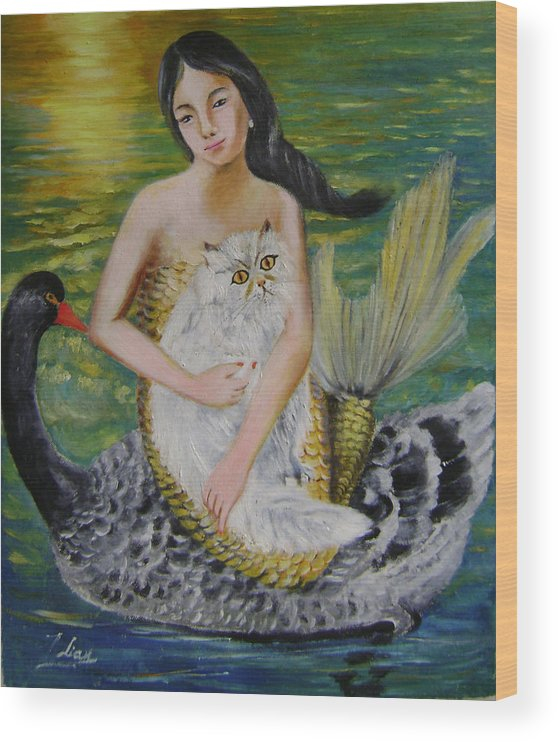Surrealist Wood Print featuring the painting Mermaid And Swan by Lian Zhen