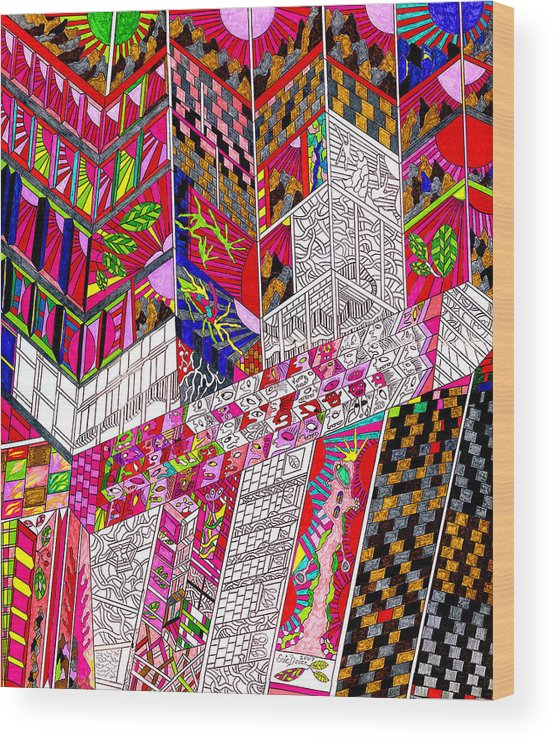 City Wood Print featuring the drawing Metropoloitan Morning by Eric Devan