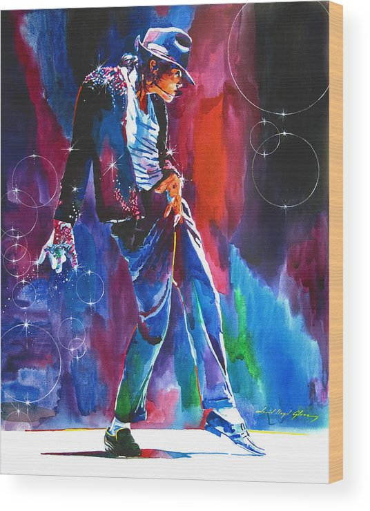 Michael Jackson Wood Print featuring the painting Michael Jackson Action by David Lloyd Glover