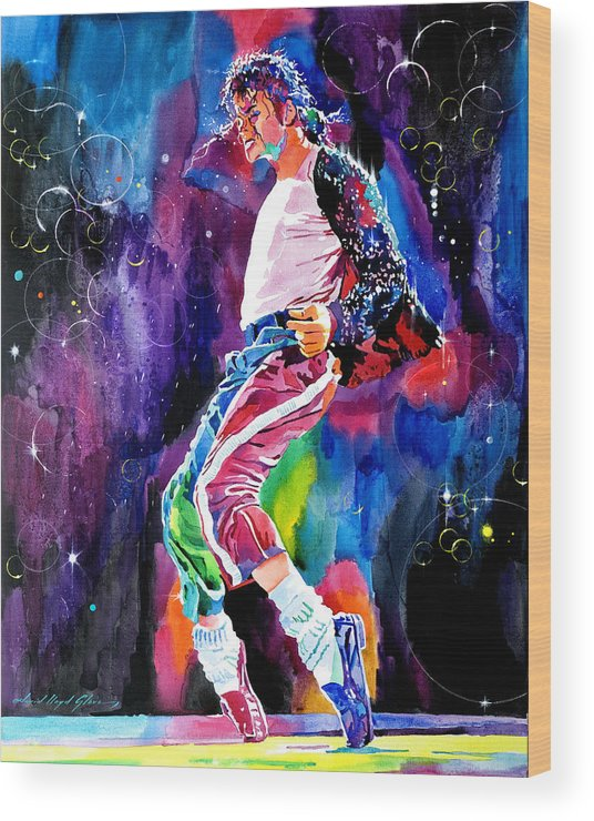Michael Jackson Wood Print featuring the painting Michael Jackson Dance by David Lloyd Glover