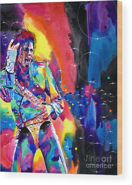Michael Jackson Wood Print featuring the painting Michael Jackson Flash by David Lloyd Glover