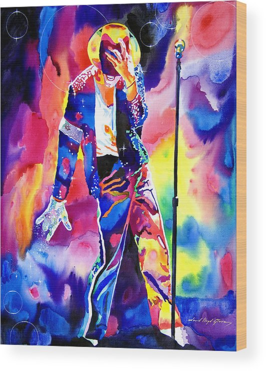 Michael Jackson Wood Print featuring the painting Michael Jackson Sparkle by David Lloyd Glover