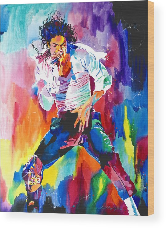 Michael Jackson Wood Print featuring the painting Michael Jackson Wind by David Lloyd Glover