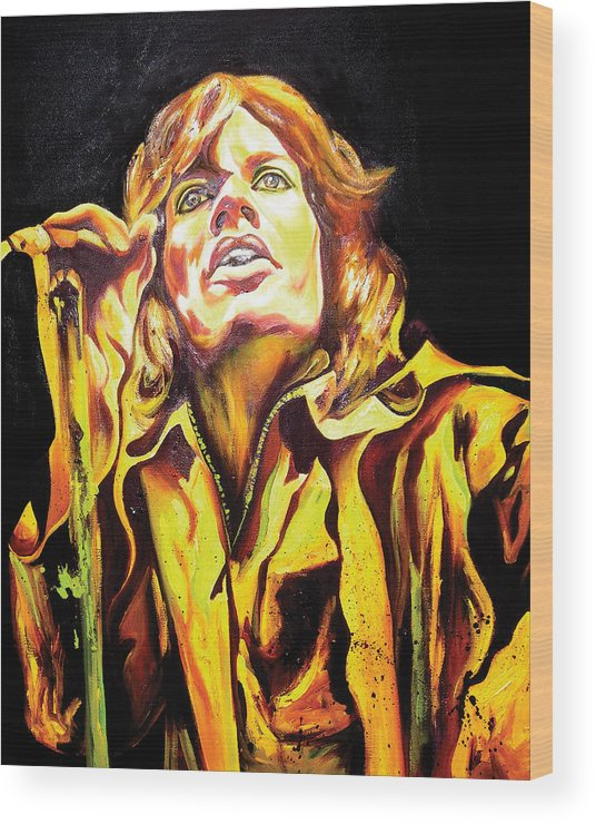 Mick Jagger Wood Print featuring the painting Mick by Jacqueline DelBrocco