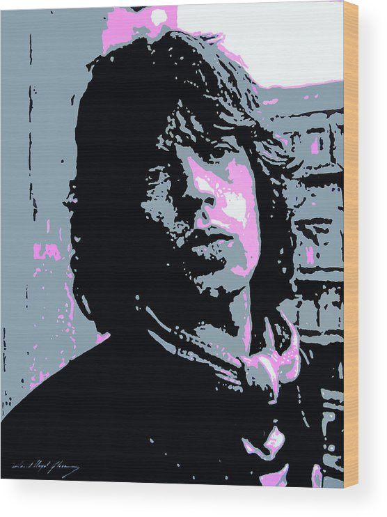 Mick Jagger Wood Print featuring the painting Mick Jagger in London by David Lloyd Glover