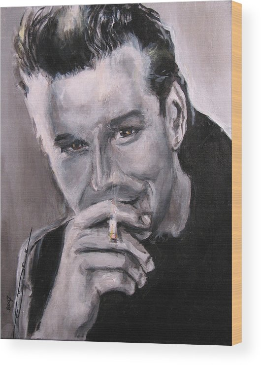 Mickey Rourke Wood Print featuring the painting Mickey Rourke by Eric Dee