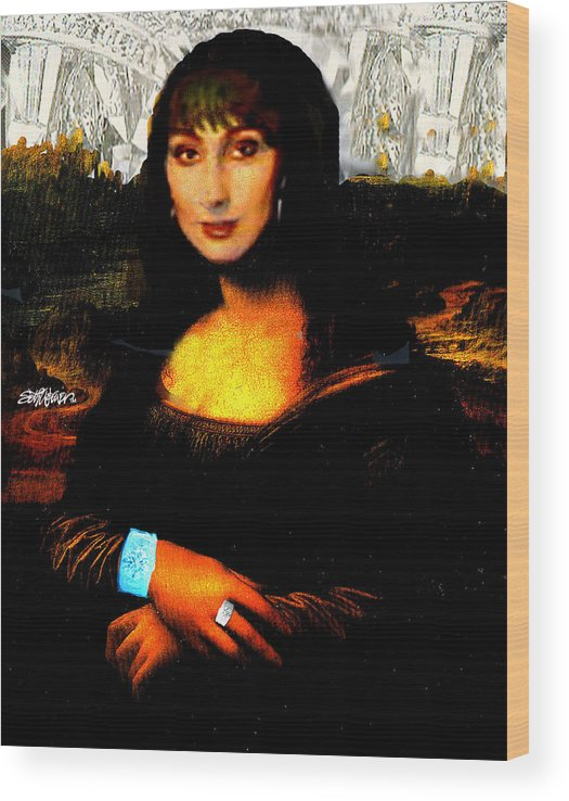 Mona Cher Wood Print featuring the digital art Mona Cher by Seth Weaver