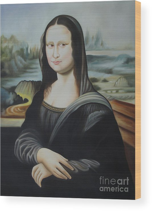 Monalisa Mona Lisa Oil Painting On Canvas Art Gallery Artwork Artist Wood Print By A K Mundra