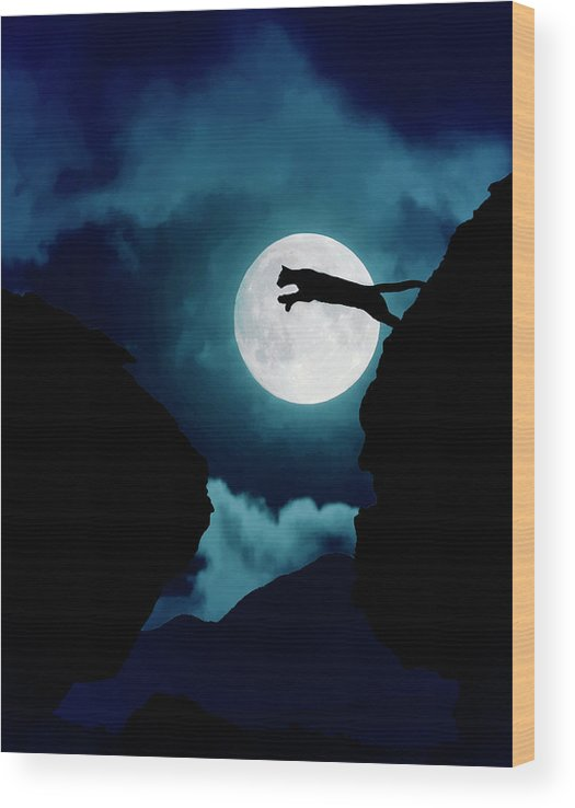 Mountain Lion Wood Print featuring the photograph Moonlight Leap by Roy Nierdieck