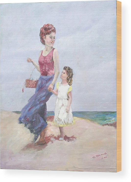 Mother Wood Print featuring the painting Mother and Daughter at the Beach by Nicholas Minniti
