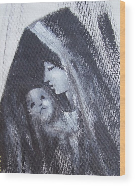 Painted Scetch Wood Print featuring the painting Motherly Love by Martha Mullins