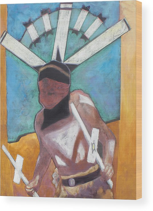 Native American Wood Print featuring the mixed media Mountain Spirit Dancer by Jo Thompson