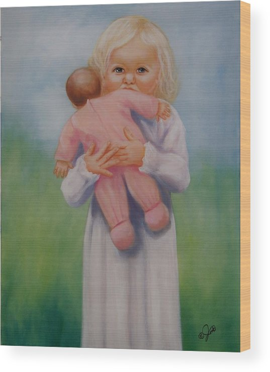 Oil Painting Wood Print featuring the painting My Baby by Joni McPherson