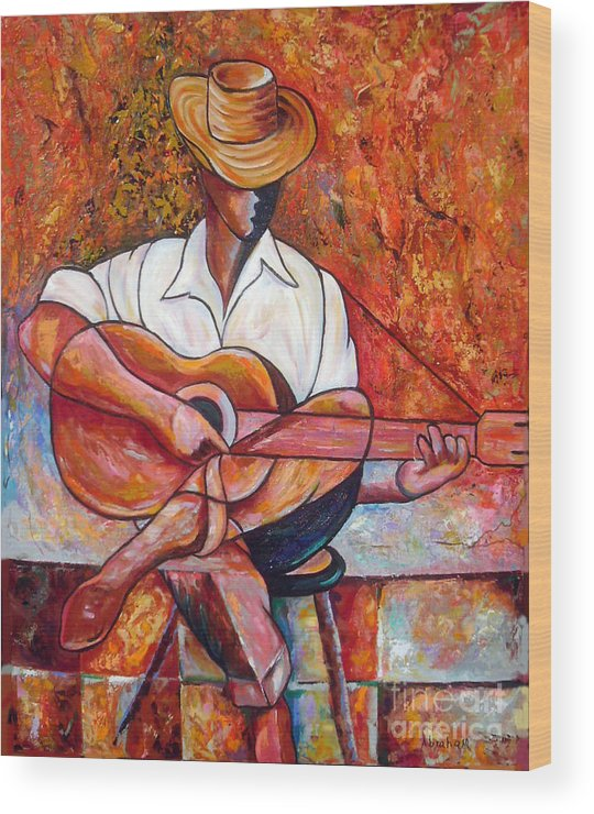 Cuba Art Wood Print featuring the painting My Guitar by Jose Manuel Abraham