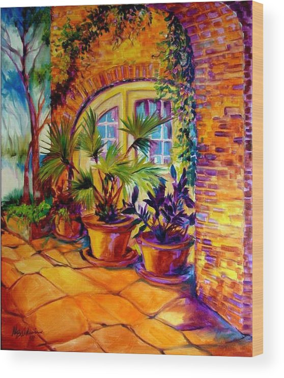 New Orleans Wood Print featuring the painting NEW ORLEANS COURTYARD by M BALDWIN by Marcia Baldwin