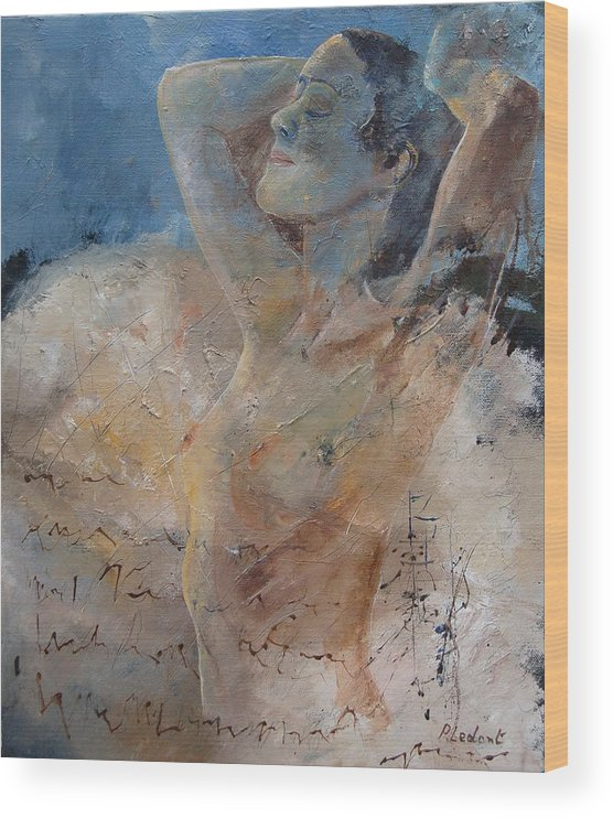 Nude Wood Print featuring the painting Nude 0508 by Pol Ledent