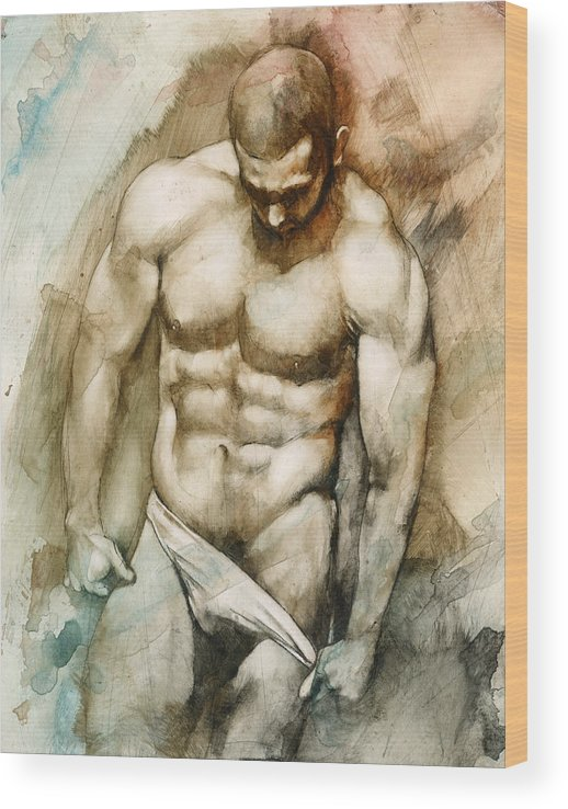 Male Wood Print featuring the painting Nude 49 by Chris Lopez