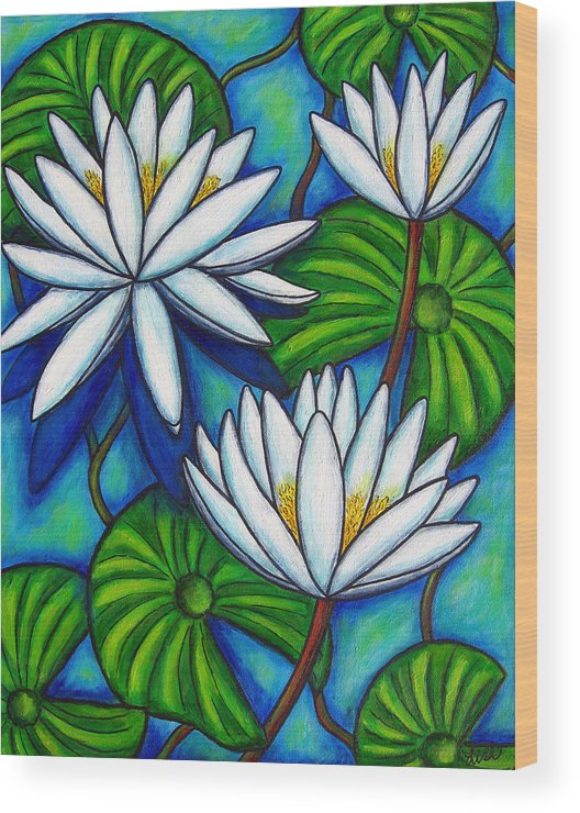 Lily Wood Print featuring the painting Nymphaea Blue by Lisa Lorenz