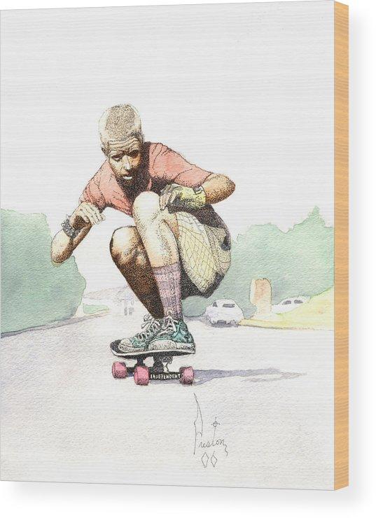 Duane Peters Skateboard Art Old School Nhs Santa Cruz Punk Skater Skateboarder Thrasher Wood Print featuring the painting Old School Skater by Preston Shupp