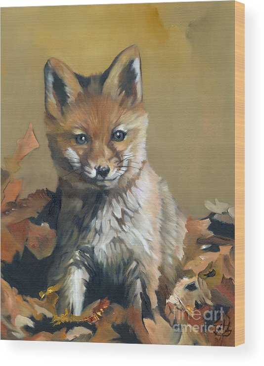 Fox Wood Print featuring the painting Once upon a time by J W Baker