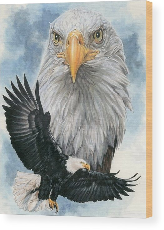 Bald Eagle Wood Print featuring the mixed media Peerless by Barbara Keith