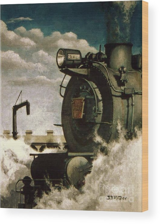 Pennsylvania Railroad Prr Train Painting Railroad Maryland And Pennsylvania Autumn Fall Colors Steam Engine Wood Print featuring the painting Pennsy M1 by David Mittner