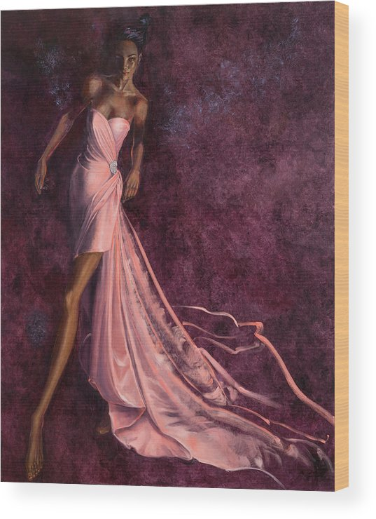Fashion Illustration Wood Print featuring the painting Pink Prowl by Barbara Tyler Ahlfield
