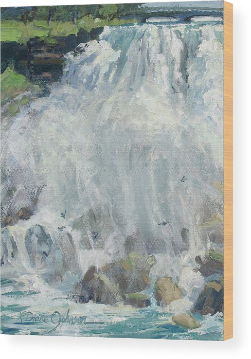 Niagara Falls Wood Print featuring the painting Playing In The Mist - Niagara Falls by L Diane Johnson