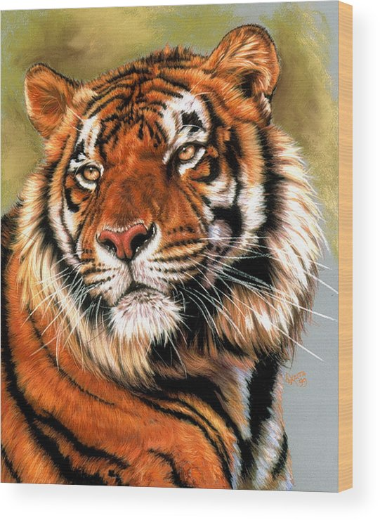 Tiger Wood Print featuring the pastel Power and Grace by Barbara Keith