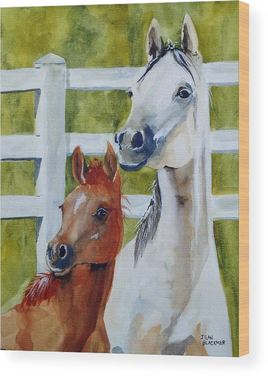 Equine Wood Print featuring the painting Proud Mama by Jean Blackmer
