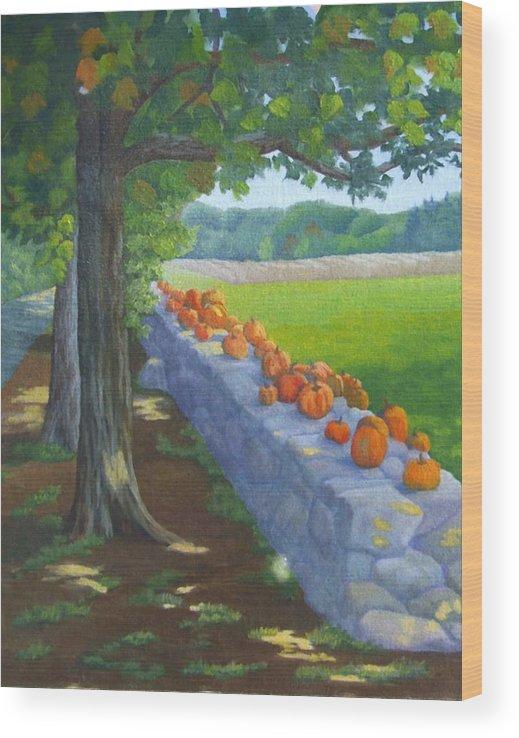 Pumpkins Wood Print featuring the painting Pumpkin Muster by Sharon E Allen