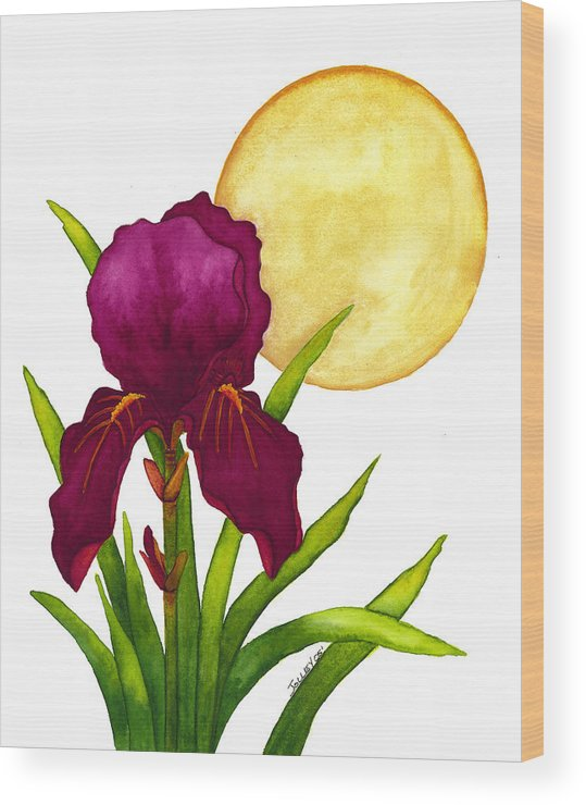 Iris Wood Print featuring the painting Purple Iris by Stephanie Jolley