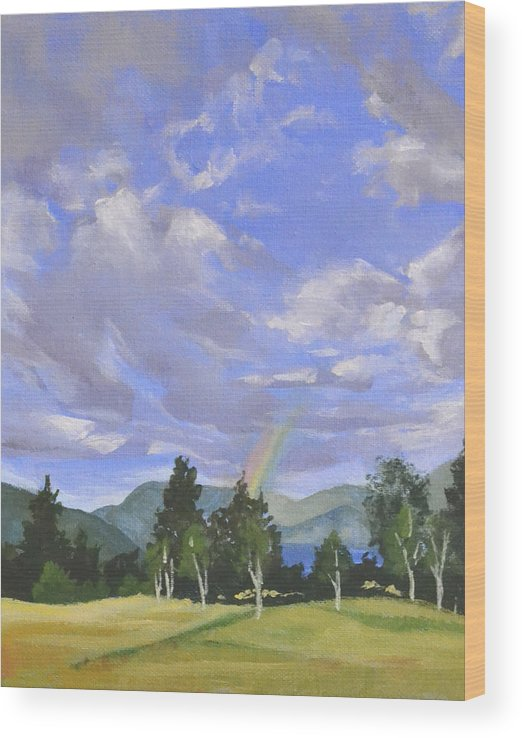 Clouds Wood Print featuring the painting Rainbow's End by Mary Chant