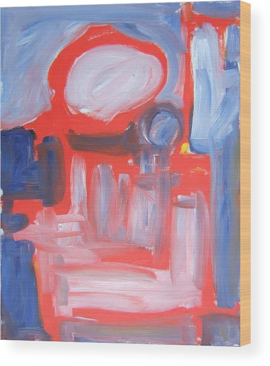 Abstract Wood Print featuring the painting Red Composition by Michael Henderson