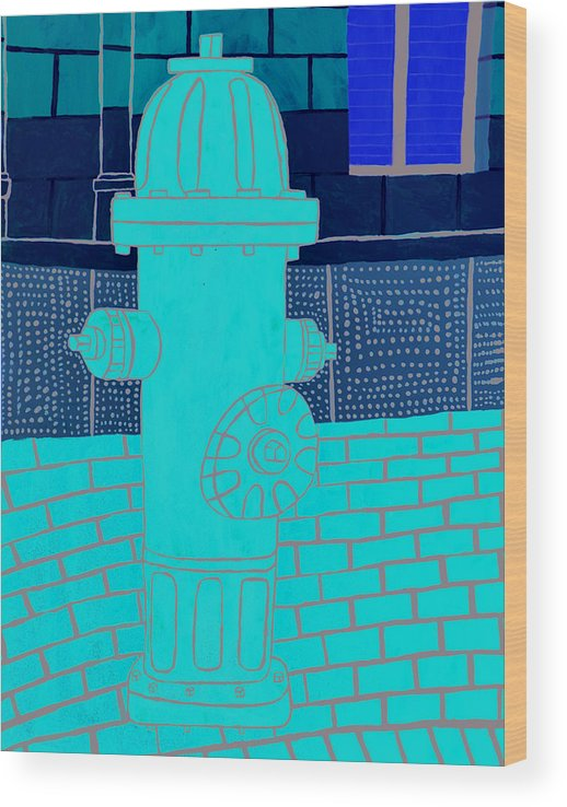 Emarc Wood Print featuring the painting Red Hydrant by Sean Cusack