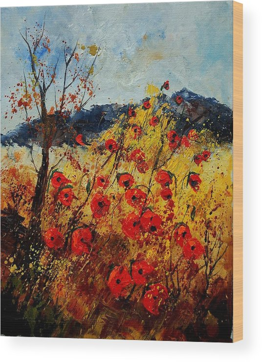 Poppies Wood Print featuring the painting Red Poppies In Provence by Pol Ledent