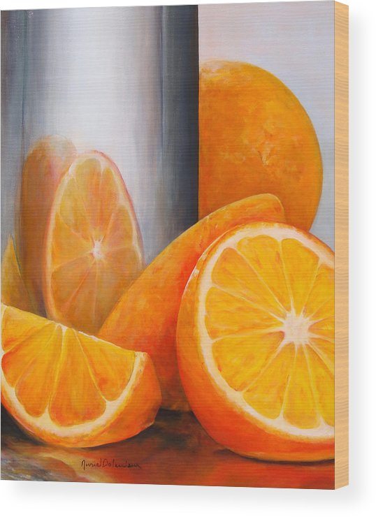 Still Life Wood Print featuring the painting Reflet orange by Muriel Dolemieux