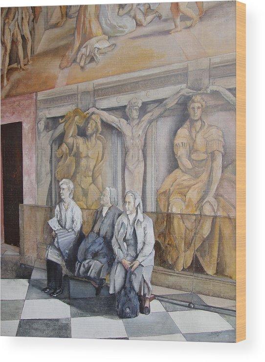 Vaticano Wood Print featuring the painting Reposo En El Vaticano by Tomas Castano