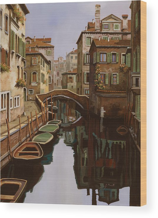 Venice Wood Print featuring the painting Riflesso Scuro by Guido Borelli