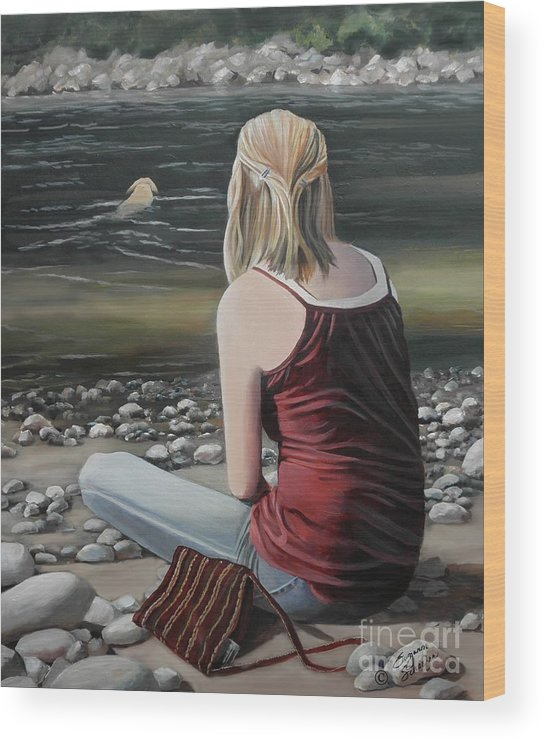 River Wood Print featuring the painting River Girl by Suzanne Schaefer