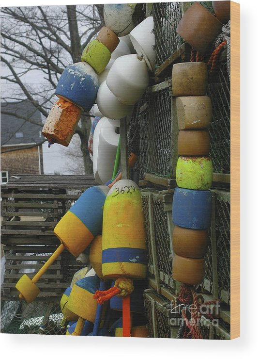 Lobster Wood Print featuring the photograph Roger's Buoys by Faith Harron Boudreau